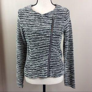 H&M Divided Moto Style Tweed Jacket Size Medium